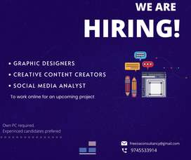 Graphic designers, Content creators and social media analyst