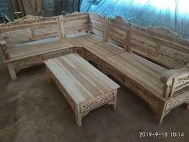 Kursi sudut ukiran full kayu jati reaady stok tinggal angkut 3 set