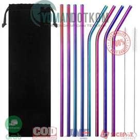 FDS645 Sedotan Stainless Steel Bending Straw Capillary 8 PCS