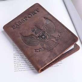 Dompet pasport kulit sapi cover paspor travel-Passport (BISAREKBER)