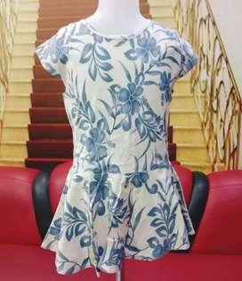 Dress anak Katun stretch Usia 4-6 tahun biru murah