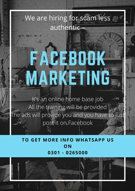 Face book Marketing online job at home for students, unemployed