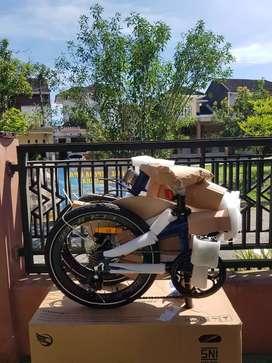Sepeda Lipat Ecosmo 8 Biru bonus Sarung Tangan Zuna
