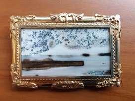 Batu Bergambar Original Frame Perak Bersertifikat