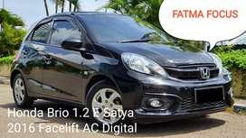 Honda Brio E Satya 2016 Hitam Facelift AC Digital Bisa TT Yaris Jazz