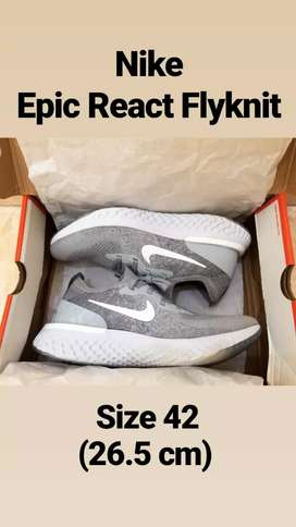 (JUAL SUPER MURAH) Nike Epic React Flyknit, Wolf Gray, BNIB Size 42