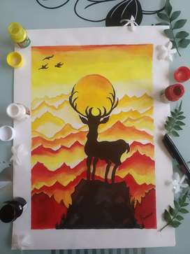 Painting of deer with sun