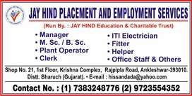 Job available .Free charges. ankleshwar, jhagadia, panoli.