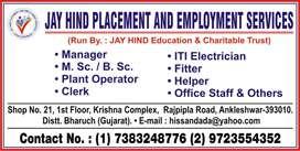 Job available in ankleshwar, jhagadia, panoli.