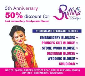 Aari embroidery blouse offer for 50%