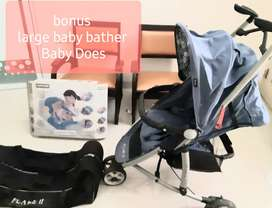 Stroller Flame II, bonus : Larger Baby Bather Baby Does