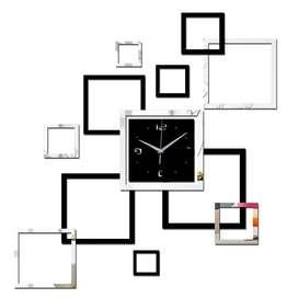 Taffware Jam Dinding 3D DIY Quartz Creative Design Model Abstract Squa