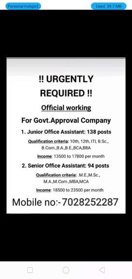 Office assistant post required