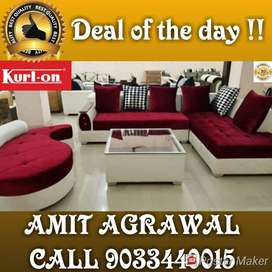 Red and white sectional sofa set