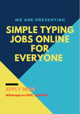 Simple Typing Jobs providing all over Pakistan come and apply it
