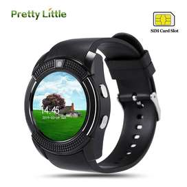 Sport Men Smart Watch v8 sim card android camera rounded Answer kids