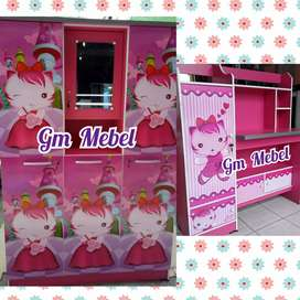 Jl Paus GM MEBEL Kamar Set Lemari 3 Pintu + Meja Rias Anak Kitty Pku