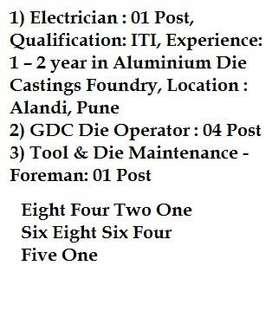 Electician, Die Operator, Die Maintenance- Foreman