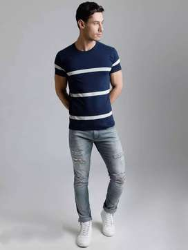 Branded Striped Cotton T shirts