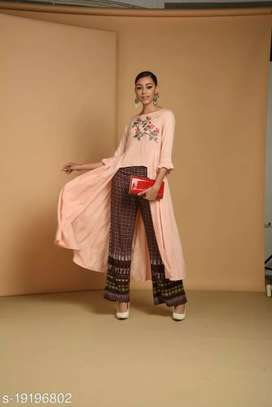 Printed Rayon top, Attached shrug, And elastic trouser set for women