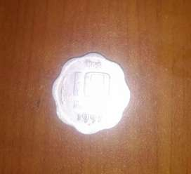 10 paise old indian coin