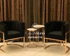 Ms steel chairs with marble top coffee tables