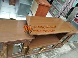 meja tv kayu triplok paten 150 cm anti jamur kuat antar ke tempat