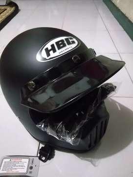 Helm cakil HBC hitam doff free goggle helm retro helm bogo