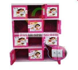 FreOnkir Lemari Plastik Pakaian Baju Anak 12 Pintu Akako Dora Pink