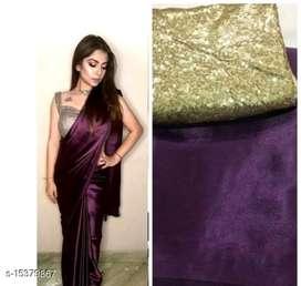 Satin saree with blouse. (0)