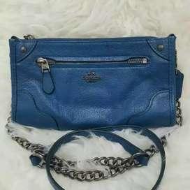 Coach sling bag blue leather keren bgt