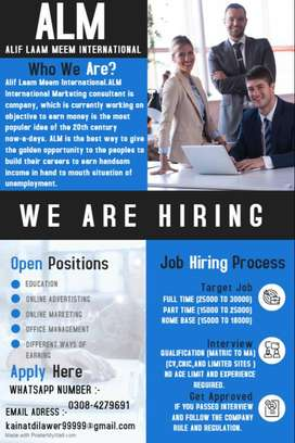 Male/Female Staff required for Office Work , Online , Home Base Work.