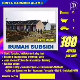 Dijual rumah murah subsidi pinggir jalan raya Transyogi, siap huni