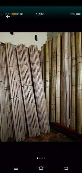 Tirai kulit bambu dan isi bambu dan kayu motif 2