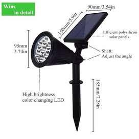 Lampu Tancap Taman Sorot LED Solar Cell Tenaga Surya 7watt 7Warna