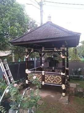Saung Gazebo bambu dengan bahan bambu berkulitas