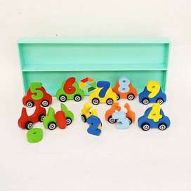 Mobil Angka 10 Mainan Edukatif Kayu Anak TK