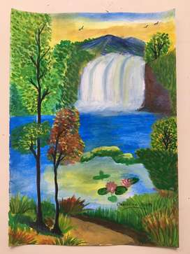 Waterfall scenary - Water color painting