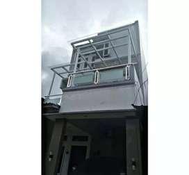 Kanopi kaca dan balkon kaca stainless #1580