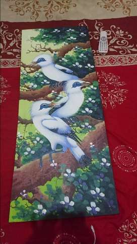 Lukisan burung kanvas memanjang 40cmx100murah