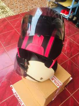 Helm nano warna pink dan off white new