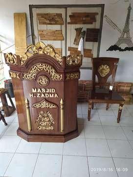 Mimbar masjid podium kayu jati 022