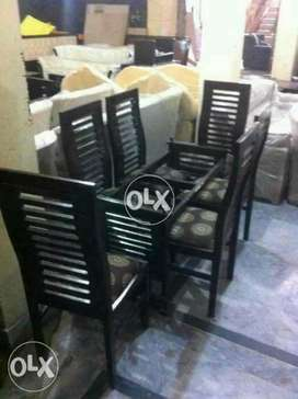 Wooden style brand new 6 seater dining table set
