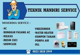 Service AC Mesin cuci Kulkas, Isi freon AC, Bongkar pasang AC, Kompor