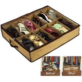 Home Shoes Organizer - 12 Shoes Storage Under Bed Closet - Brown