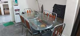 IMPORTED STEEL DINING TABLE WITH 6 CHAIRS
