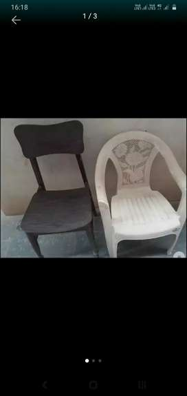 Two chairs wood and plastic
