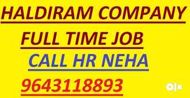 haldiram company job full time apply in helper store keeper supervisor