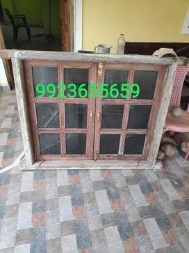 2 TEAK WOOD WINDOW FRAMES WITH GLASS ON SALE