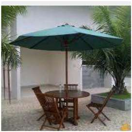 Set meja payung taman, pantai, kolam, tempat wisata, kantin, vila,